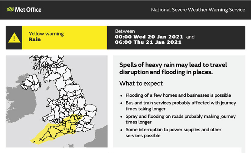 Met Office Yellow Warning Map
